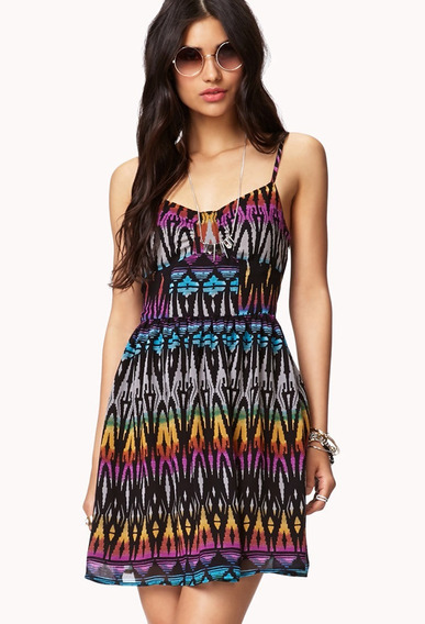 Forever21 Vestido Nuevo Importado Talle M/l Multicolor