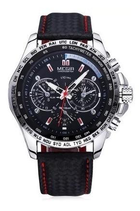 Relógio Masculino Megir 1010 - Pulseira Em Couro - Original