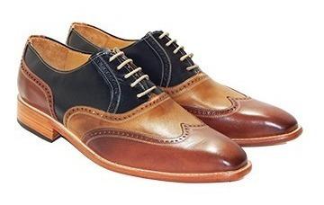 Zapatos Casuales Brogue Tricolor 100 % Cuero