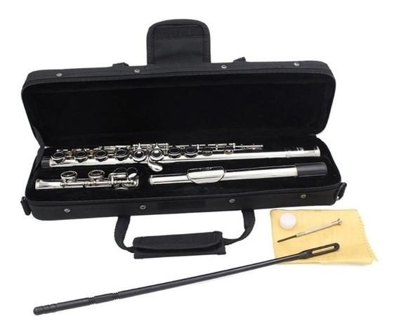 Flauta Transversal Dó Prata Ccb Prata - Pronta Entrega