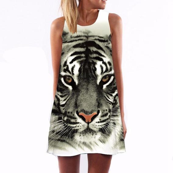 Vestido Casual Moda 2019 Animal Printer Corto Talla L