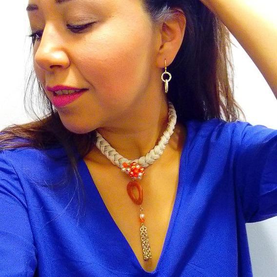 C104 Collar Artesanal Mexicano Beige Moda Mujer Bisuteria
