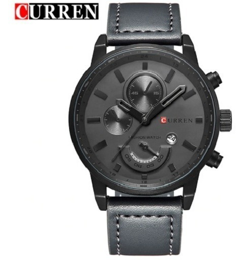 Relógio Pulso Masculino Curren 8217 Cinza Militar Original