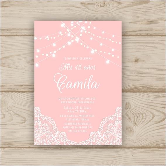 Tarjeta 15 Años Imprimible-rosa Con Puntilla