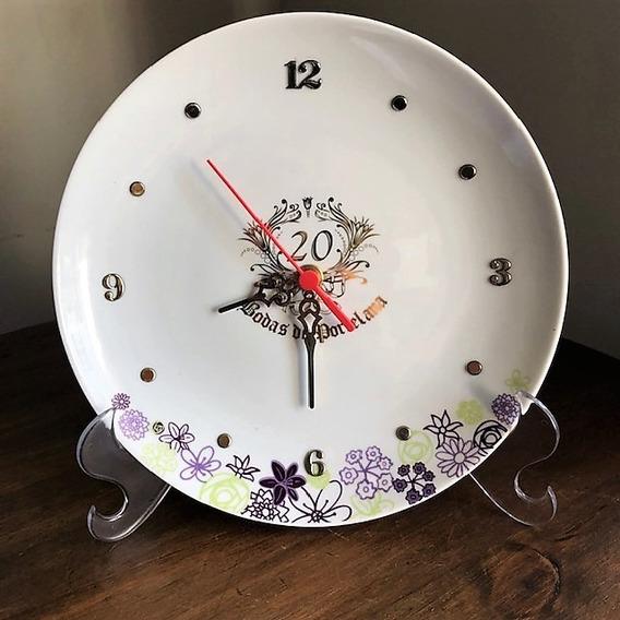 Relógio Bodas De Porcelana 20 Anos De Casamento - P81