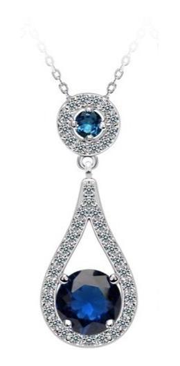Collar Gota Circonias Zafiro Azul Amour En Plata .925