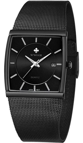 Relógio Masculino Preto Ultrafino Luxuoso C/ Caixa 8831
