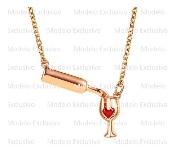 Collar Copa Vino Oro Rosa