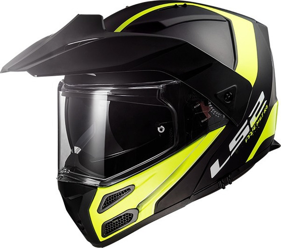 Casco Moto Ls2 Ff324 Abatible Metro Evo Negro Matte Amarillo