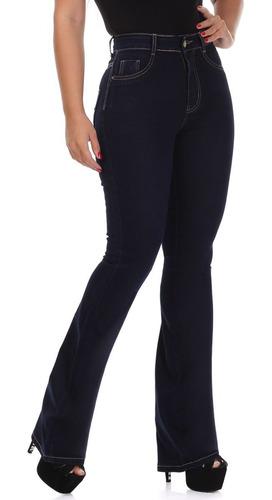 Imagem 1 de 5 de Calça Jeans Flare Feminina Sawary Super Lipo Black Blue