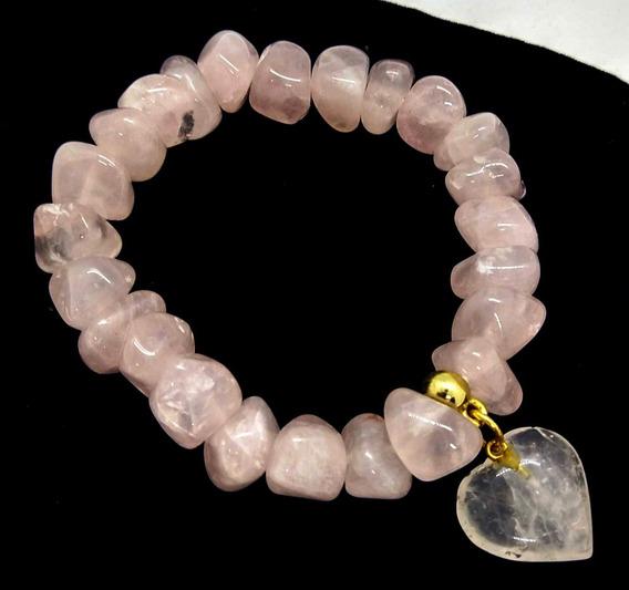 Pulseira Pedra Quartzo Rosa C/ Coração Chakra Cardíaco Amor
