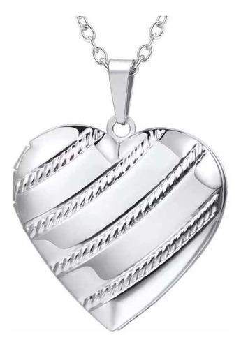 Collar Relicario Portafotos Amor  Corazón Mujer Acero 316