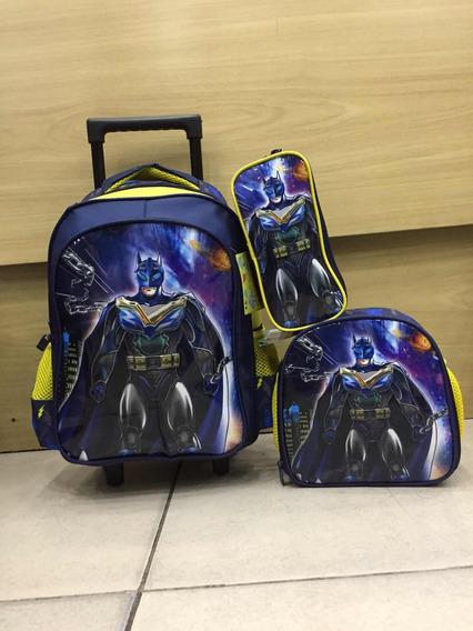 Kit Mochila Infantil Com Rodinha Batman + Lancheira + Estojo