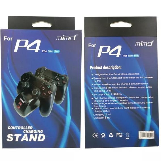 Carreg P/ 2 Controles Ps4 / Slim/ Pro Mimd Rio Cristal