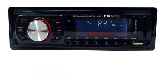 Som Carro Auto Radio Fm Usb Mp3 Pen Drive Cartao Sd Aux