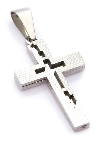 Pingente Crucifixo P/ Corrente Aço Inox J-327 Prateado