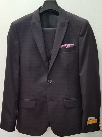 Traje Caballero 3 Pzas, Slim Fit, Color Marron Orion Cuadros