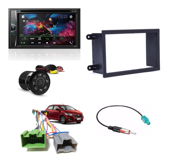 Dvd Player Pioneer Avh-g218bt Bluetooth + Camera De Re Visao Noturna + Chicotes + Moldura Onix Novo Prisma 2018 Acima