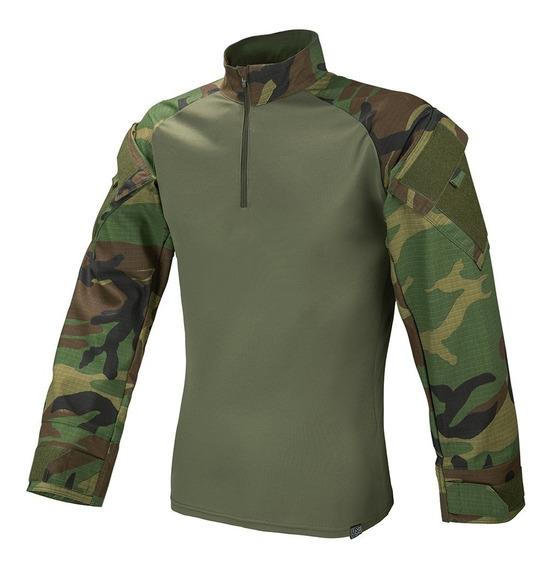 Camisa Combat Shirt Tática Woodland Militar Rip Stop Airsoft