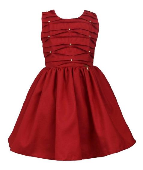 Vestido Infantil Para Festa Vermelho Natal Tam 1 Ao 4