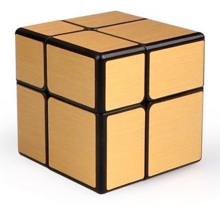 Cubo Mágico Rubik 2x2x2 Qiyi Mirror Cube Dorado Base Negra