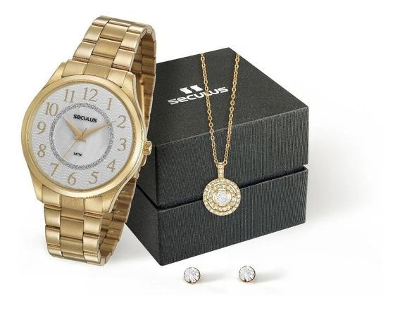 Relógio Seculus Feminino Analógico Dourado + Colar E Brincos