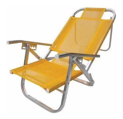 Cadeira Praia Reclinável C.apoio Copacabana Amarela-botafogo