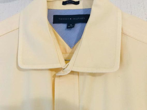 Camisa Slim Fit Manga Tommy Hilfiger Amarilla Talla 15 32-33