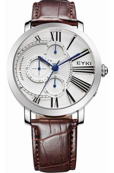 Relógio Eyki Overfly Eet8763l Luxo Pulseira De Couro + Frete