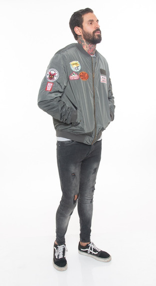 Campera Hombre Abrigo Parches Escudo Gris #50015