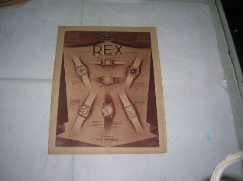 Publicidad 1938 Casa Escasany Relojes Pulsera Rex Joyas
