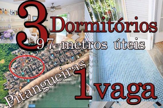Guarujá Pitangueiras, 3 Dts, Sacada, 1 Vaga, 97 Metros Úteis, 300 Metros Da Praia Próximo A Comércios!! - Ap0529