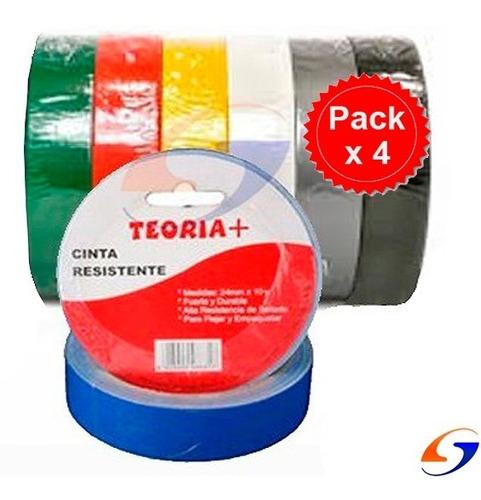 Cinta Adhesiva Pato Color 24mm. Pack X4 Serviciopapelero