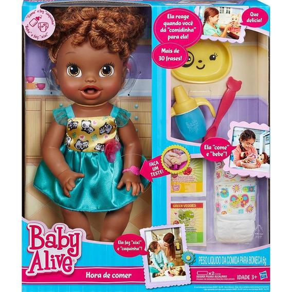 Boneca Baby Alive Hora De Comer Negra Fala Português Hasbro
