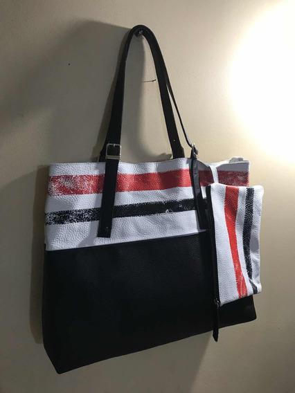 Tote Bag Cuero Pintado Con Sobre