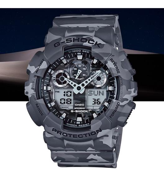 Relógio Casio G-shock Masculino Anad Ga-100cm-8adr Camuflado