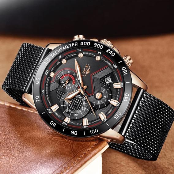 Relógio Masculino Original Lige 9929 Funcional Luxo+ Caixa