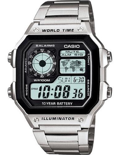 Reloj Casio Ae-1200whb-1bv Resistente Agua 100m Pila10 Años