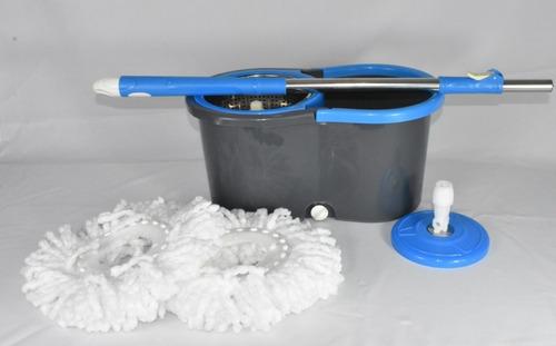 Mopa Balde Giratorio  360-centrifugador De Acero + 2  Paños