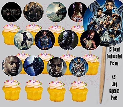 Imagen 1 de 4 de Party Over Here Black Panther Película Cupcake Picks Imáge