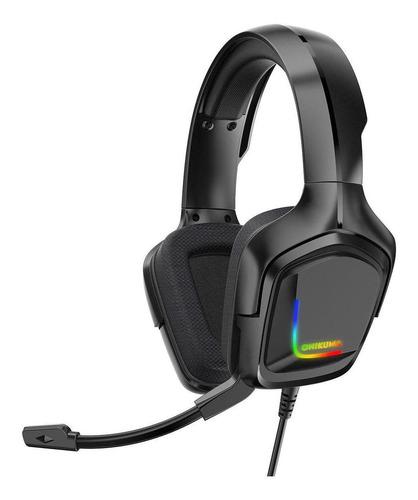 Auriculares gamer Onikuma K20 negro con luz rgb LED