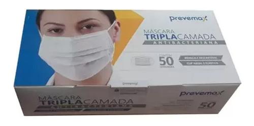 Imagem 1 de 2 de Máscara Descartável Tripla Antibacteriana Clipe Nasal 50 Und