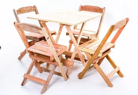 Jogo Conjunto Mesa Bar Dobrável 70x70 4 Cadeiras Madeira