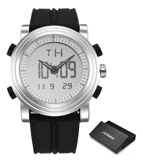 Relógio Sinobi 9368 Digital Mostrador Duplo Cronômetro Data