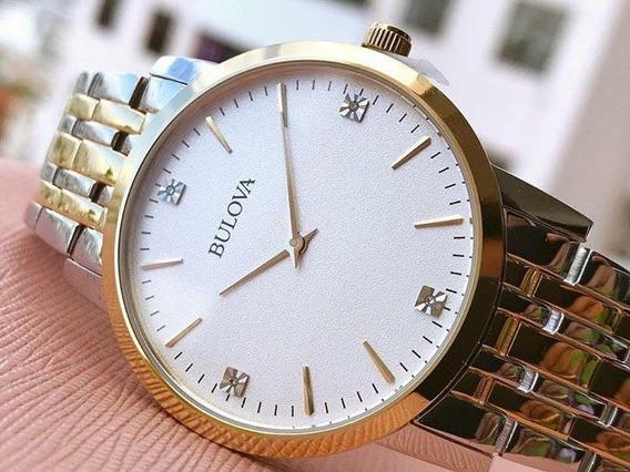 Elegante Reloj Bulova Original Diamond Caballero Nuevo