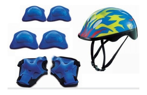 Kit Proteção Infantil Capacete Patins Skate Bike Azul