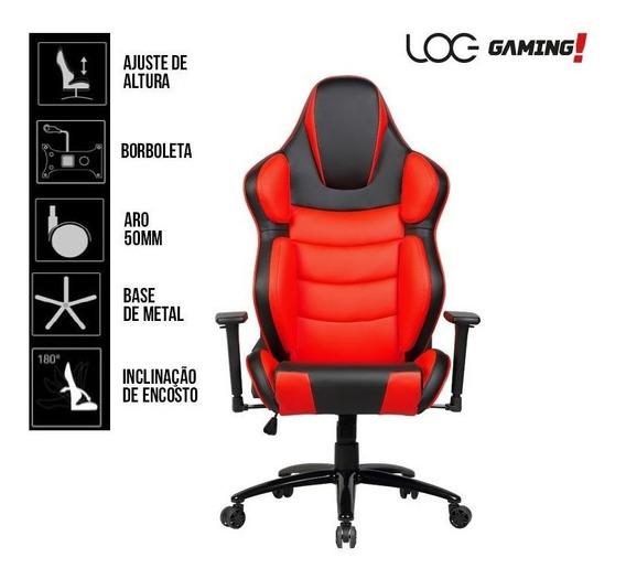 Cadeira Gamer Log Gaming Kw-g67 Giratória Preta E Vermelha
