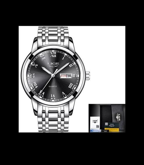 Relógio - Lige, Inoxidável, Resistente Água Original, Pesado