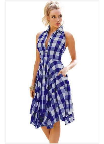 Las Mujeres Sleevelss Patchwork Vestido De Verano Ropa De Pl