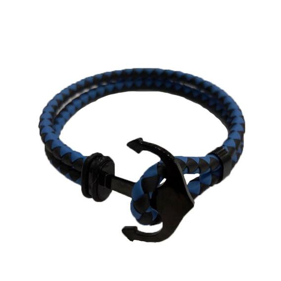 Pulsera Brazalete Caucho Azul Con Negro, Envío Gratis